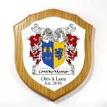 Family Crests Double Barrelled Shield Plaque PERSONALISED, ref FCODB